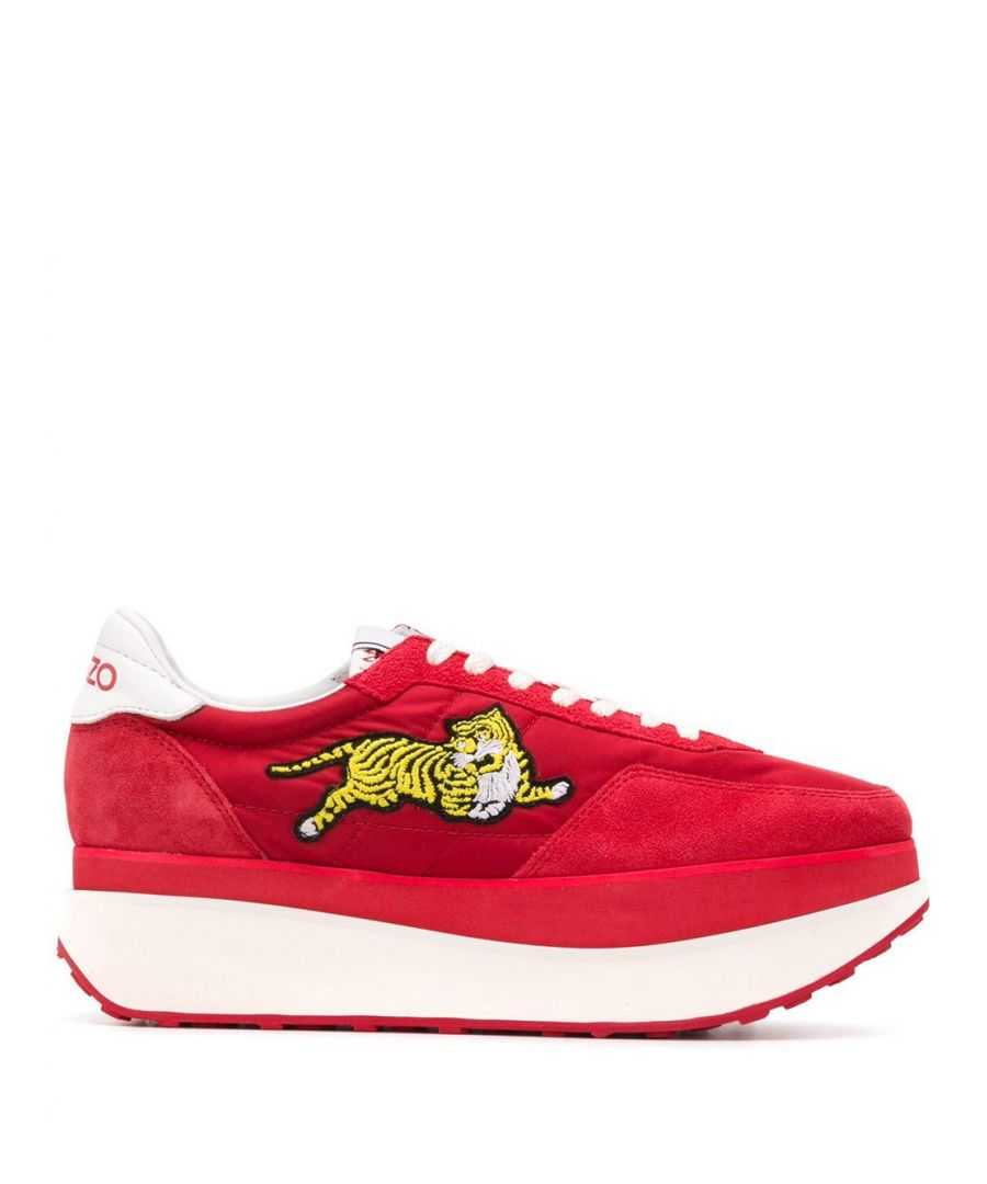 Image for KENZO WOMEN'S FA52SN222F5421 RED SUEDE SNEAKERS