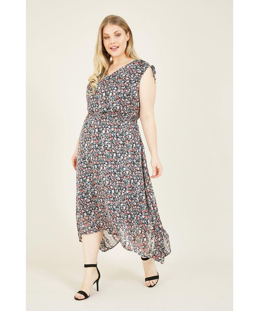 Image for Yumi Black Plus Size Lurex Rose Asymmetric Midi Dress