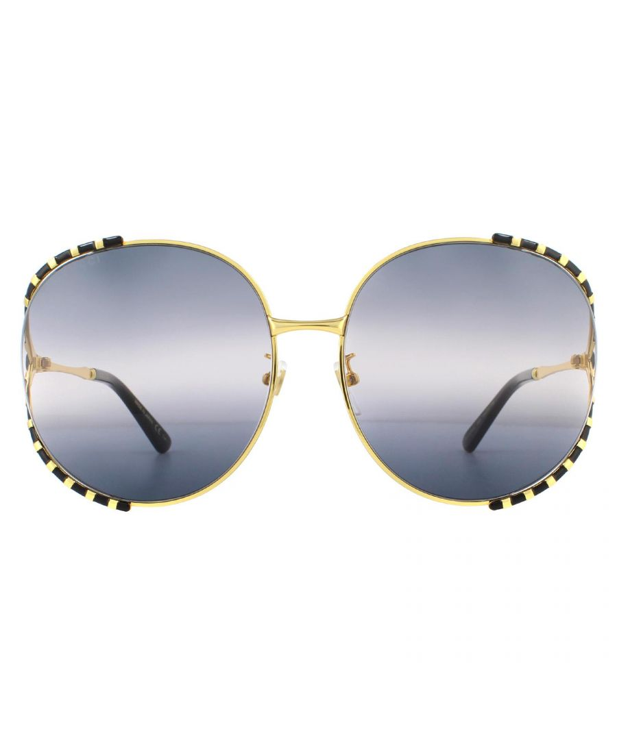 Image for Gucci Sunglasses GG0595S 005 Gold and Black Double Grey Gradient