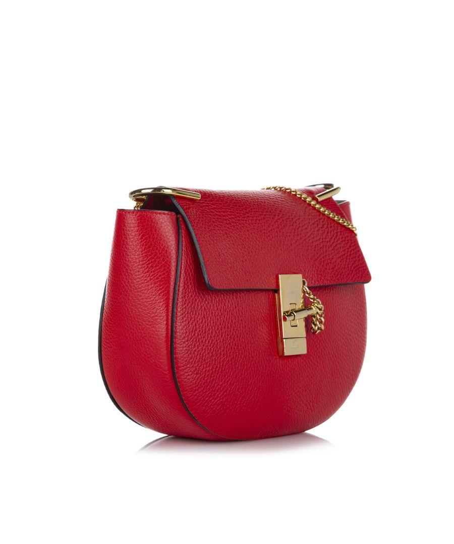 Image for Vintage Chloe Drew Leather Crossbody Bag Red