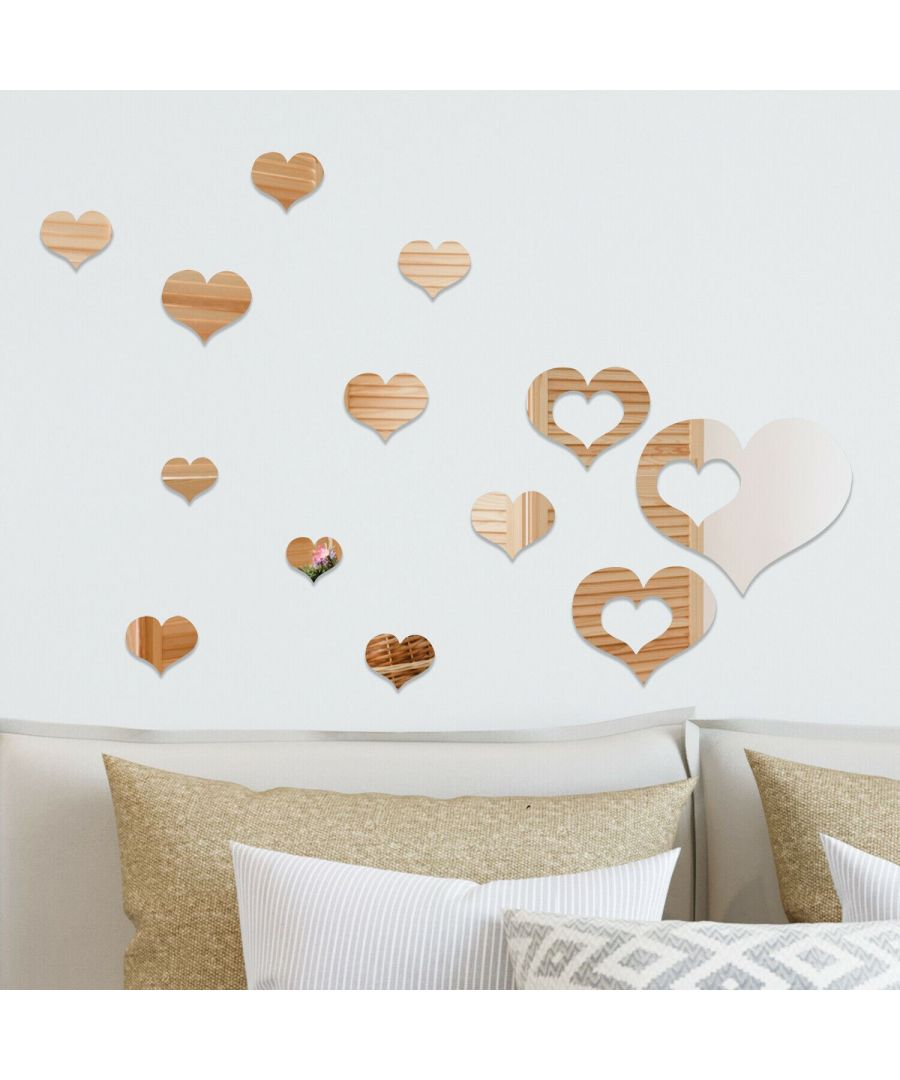 Image for DIY Crystal Romantic Hearts Mirror Wall Art Self Adhesive DIY Wall Art, Wall Art Living Room, Mirror Wall Art