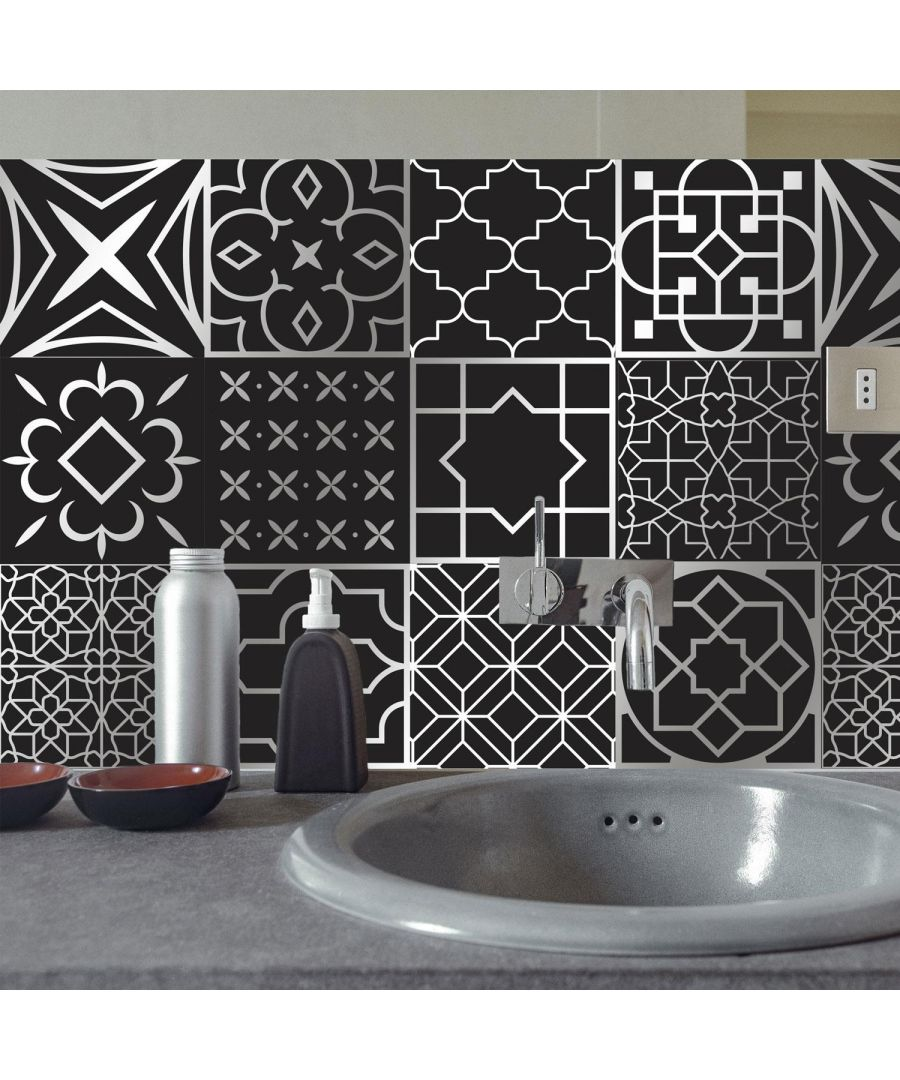 Image for Arabic Black and Silver Wall Tile Sticker Set - 15cm (6inch) - 24pcs one pack