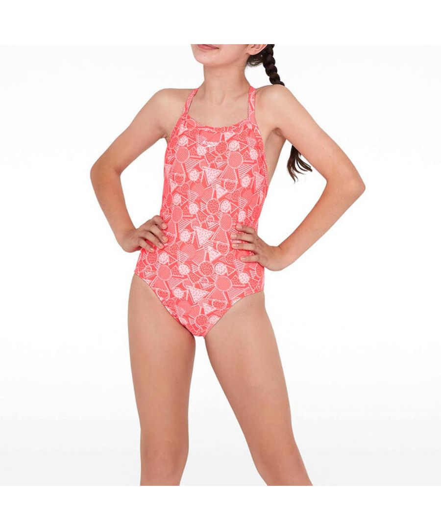 Image for Speedo DazzleGeo Crossover Back Girls Swimsuit Red/Pink - 11-12 Years