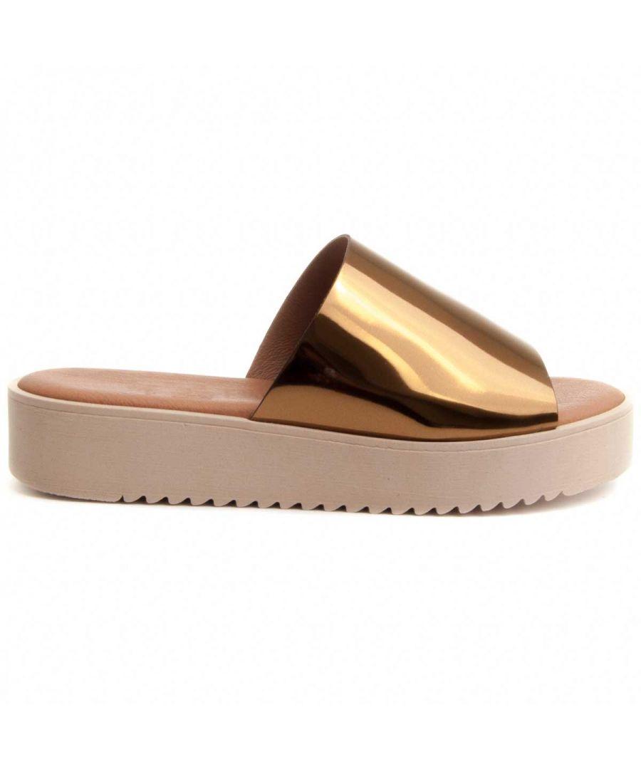 Image for Purapiel Flatform Slide Sandal in Gold