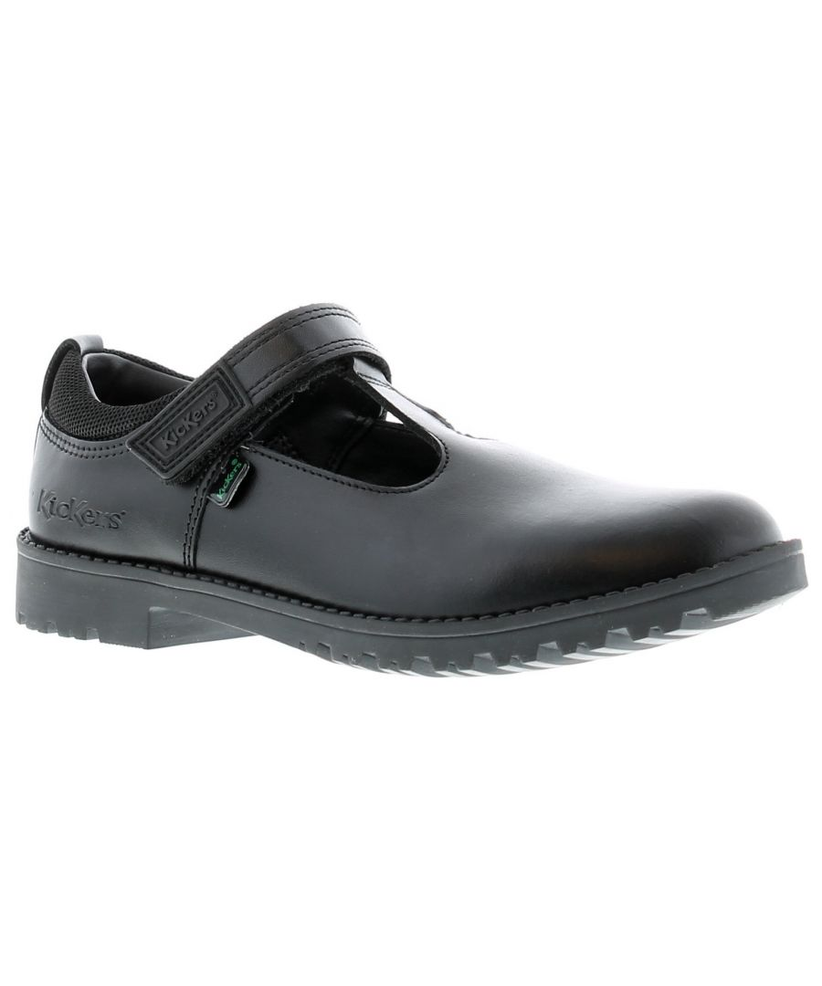 Image for A Classic Girls School Shoe Style, This T-Bar Shoe In Matter Black Leather Is Built On A Robust Sole