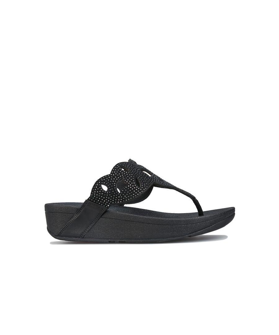Image for Women's Fit Flop Elora Crystal Toe Thong Sandals Black UK 3in Black