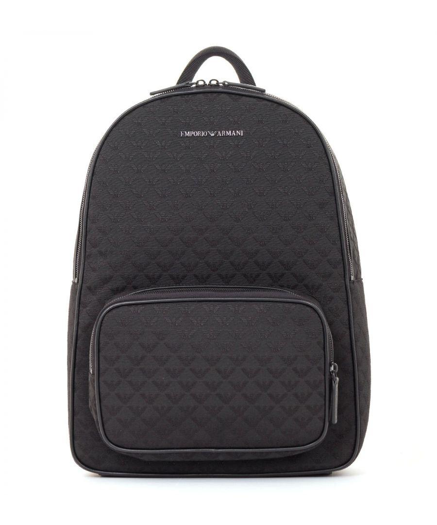 Image for Emporio Armani Jacquard Monogram Backpack - Black