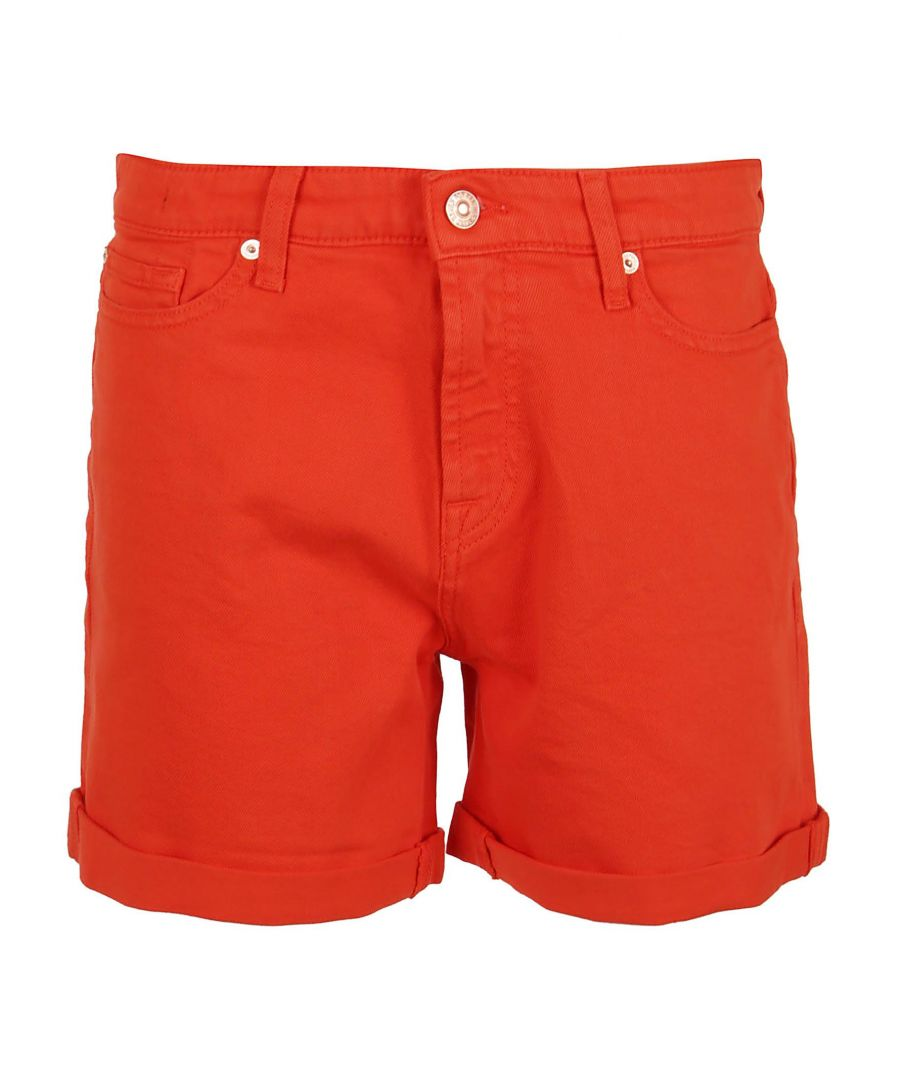 Image for 7 FOR ALL MANKIND WOMEN'S JSWUV690RECOLCOMSTR RED COTTON SHORTS