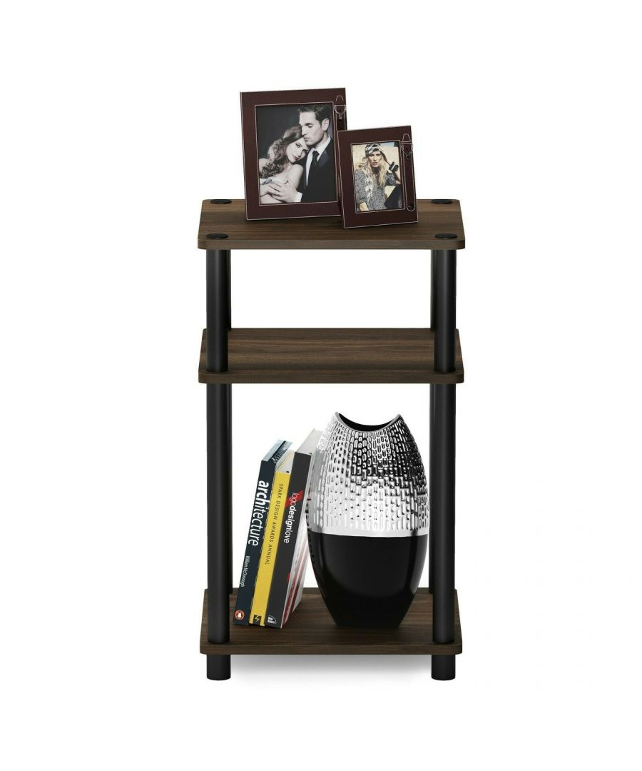 Image for Furinno Just 3-Tier Turn-N-Tube End Table - Columbia Walnut with Black Tubes