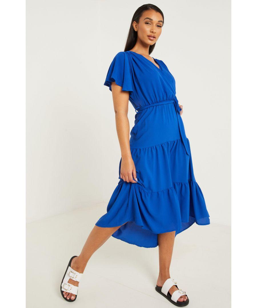 Image for Blue Wrap Dip Hem Dress