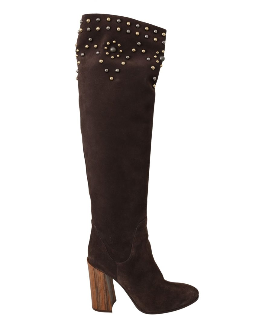 Image for Dolce & Gabbana Brown Suede Studded Knee High Shoes Boots