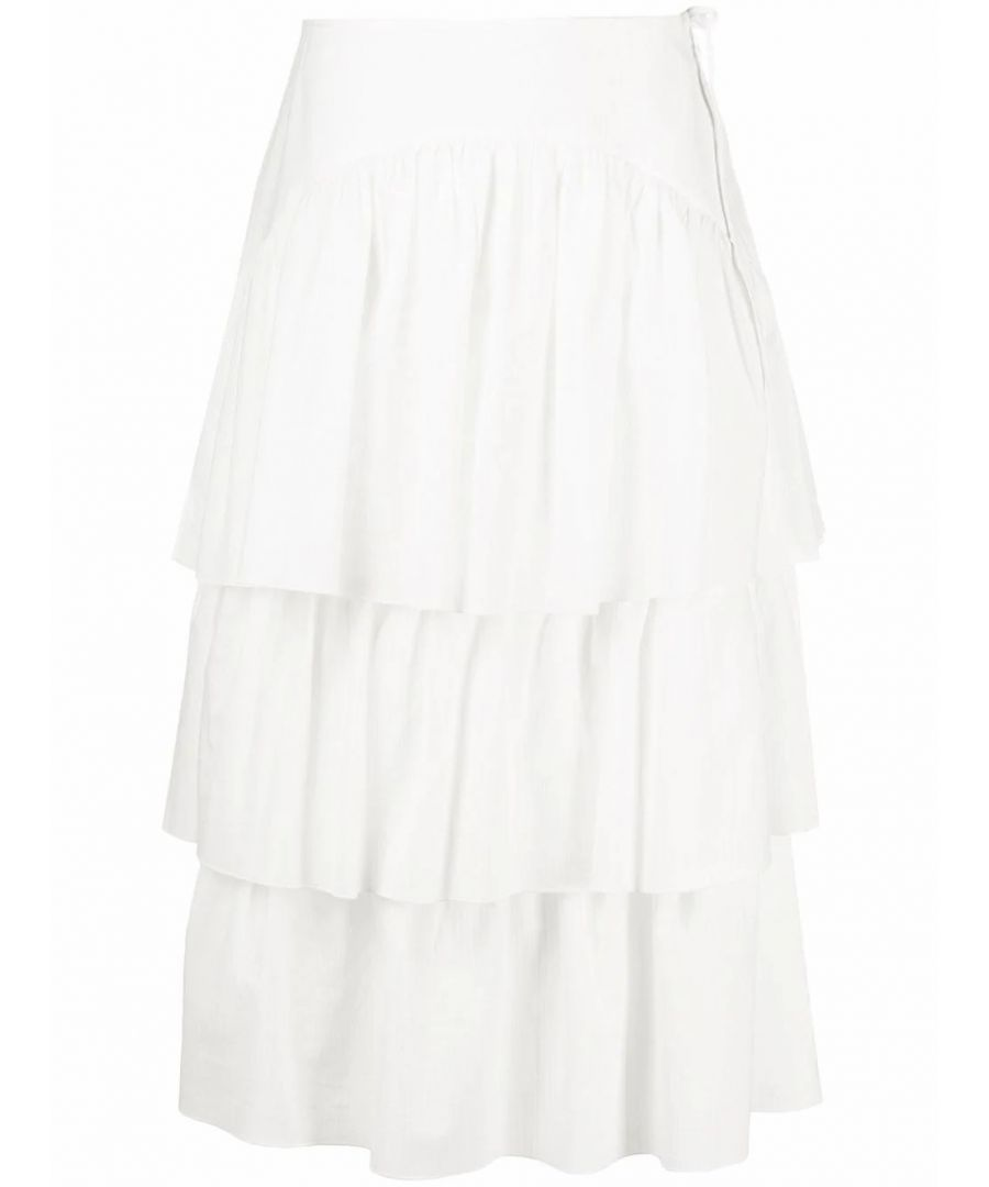 Image for SEE BY CHLOÉ WOMEN'S CHS20SJU10028107 WHITE COTTON SKIRT