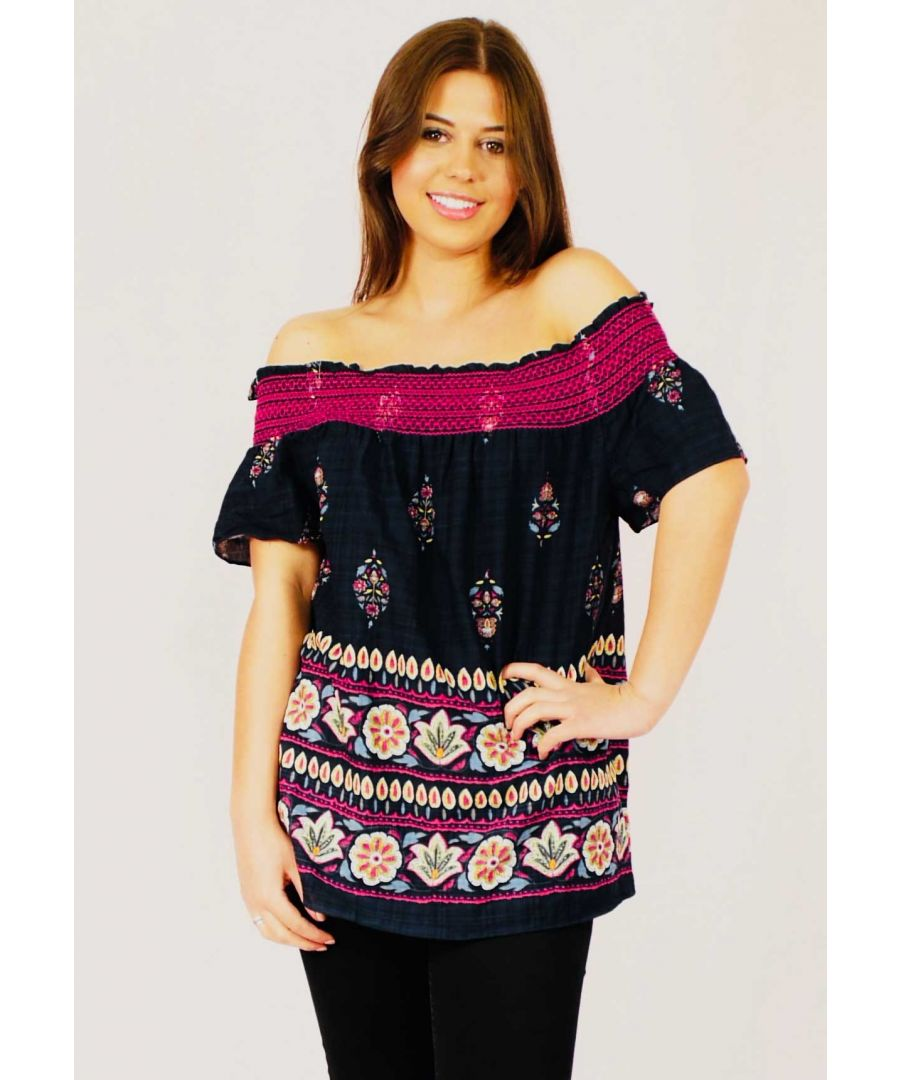 Image for Paradise Lost Off the Shoulder Cotton Top in Navy