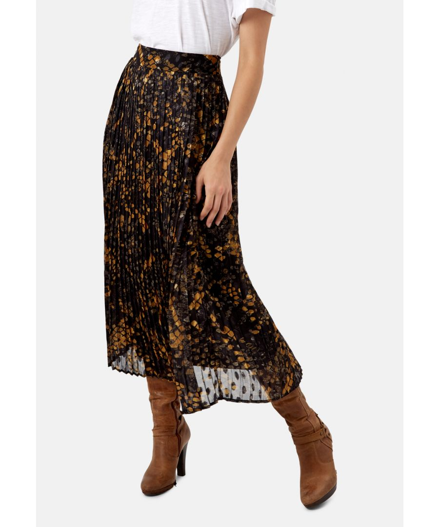Image for Falls Pleated Polka Dot Skirt in Black and Mustard