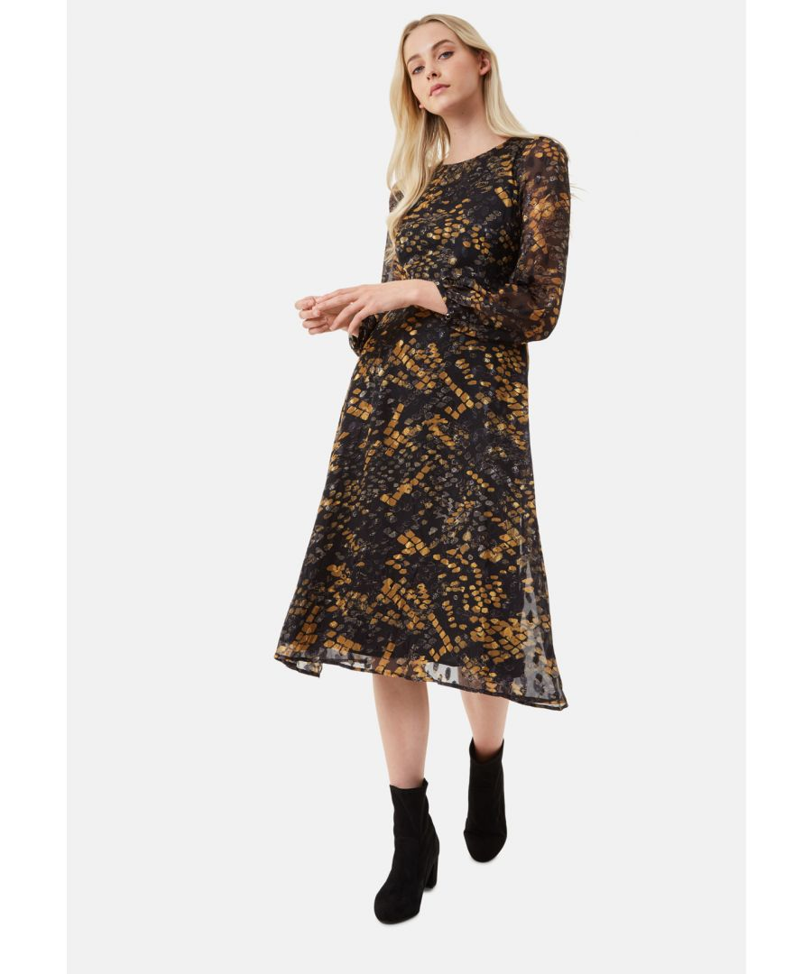 Image for Mood Midi Long Sleeve Dress in Mustard