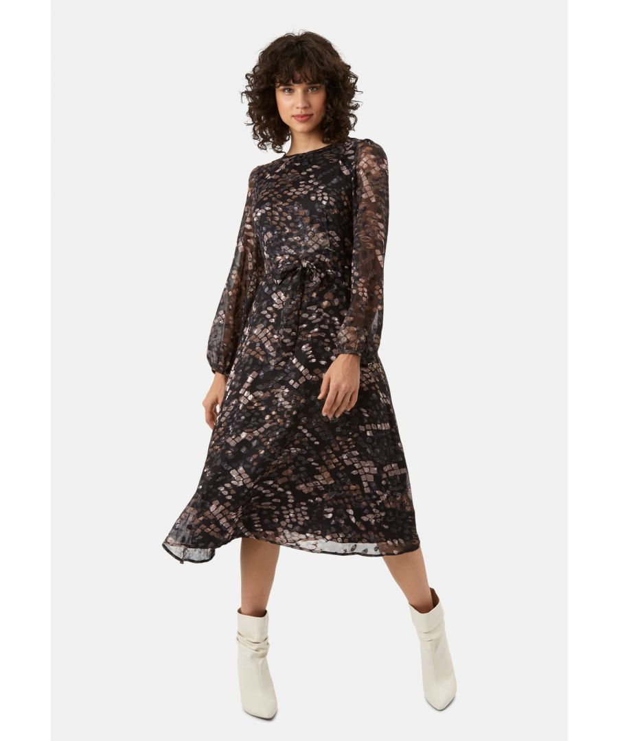 Image for Mood Midi Long Sleeve Dress in Mocha Brown
