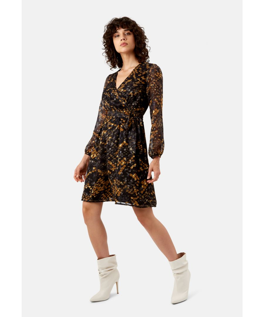 Image for Maybe Wrap Mini Dress in Mustard
