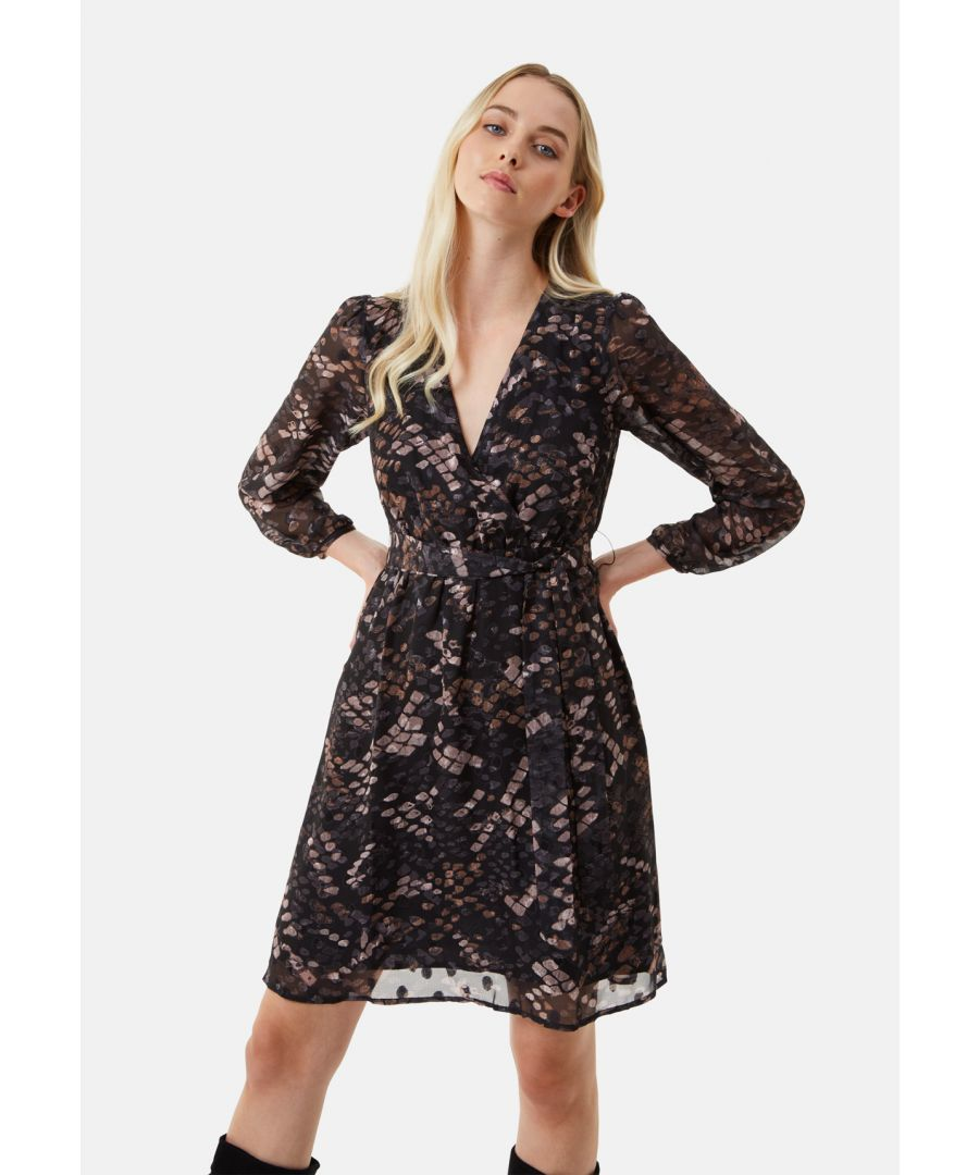Image for Maybe Wrap Mini Dress in Mocha