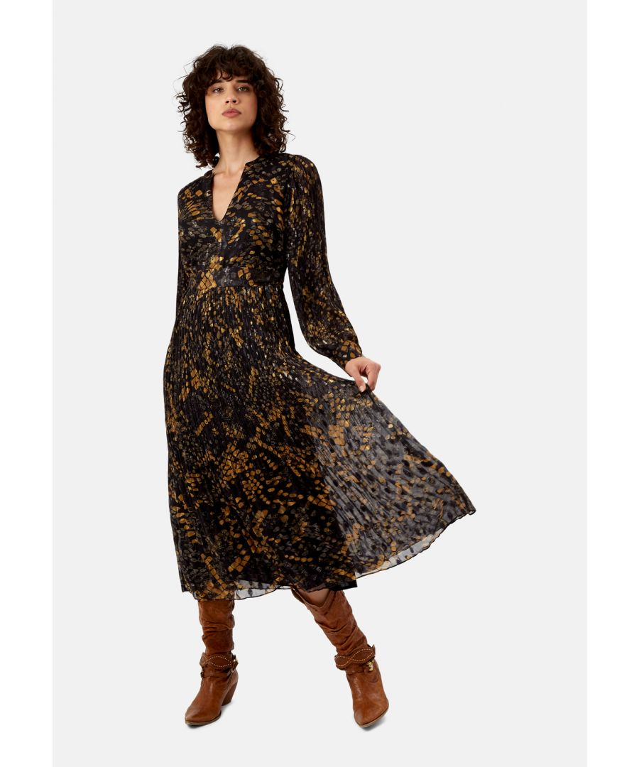 Image for Fallen Chiffon Pleated Maxi Dress in Black and Mustard