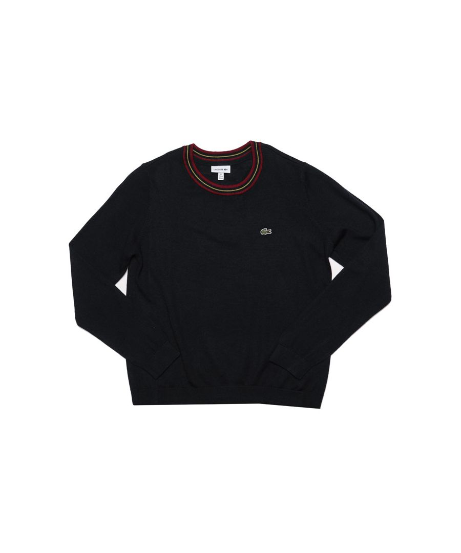 Image for Boy's Lacoste Junior Contrast Neck Wool Crew Sweat in Navy