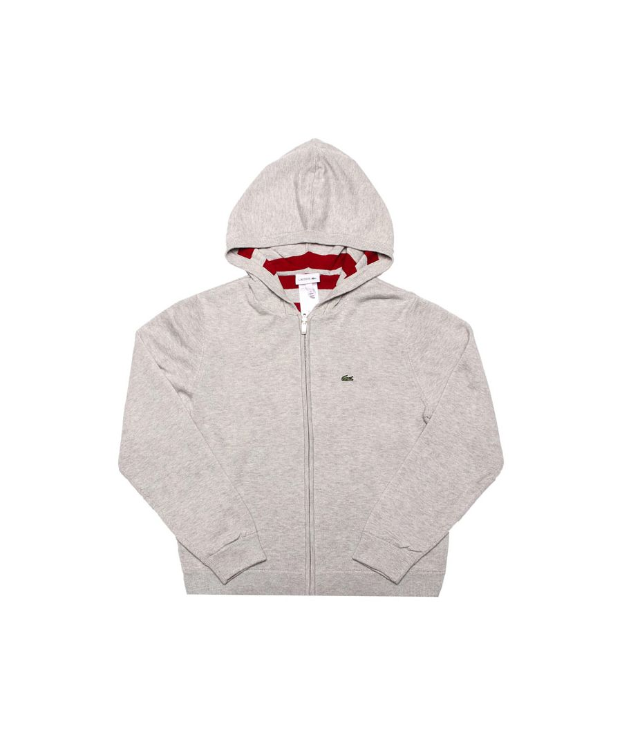 Image for Boy's Lacoste Infant Reversible Cotton Hoody in Grey