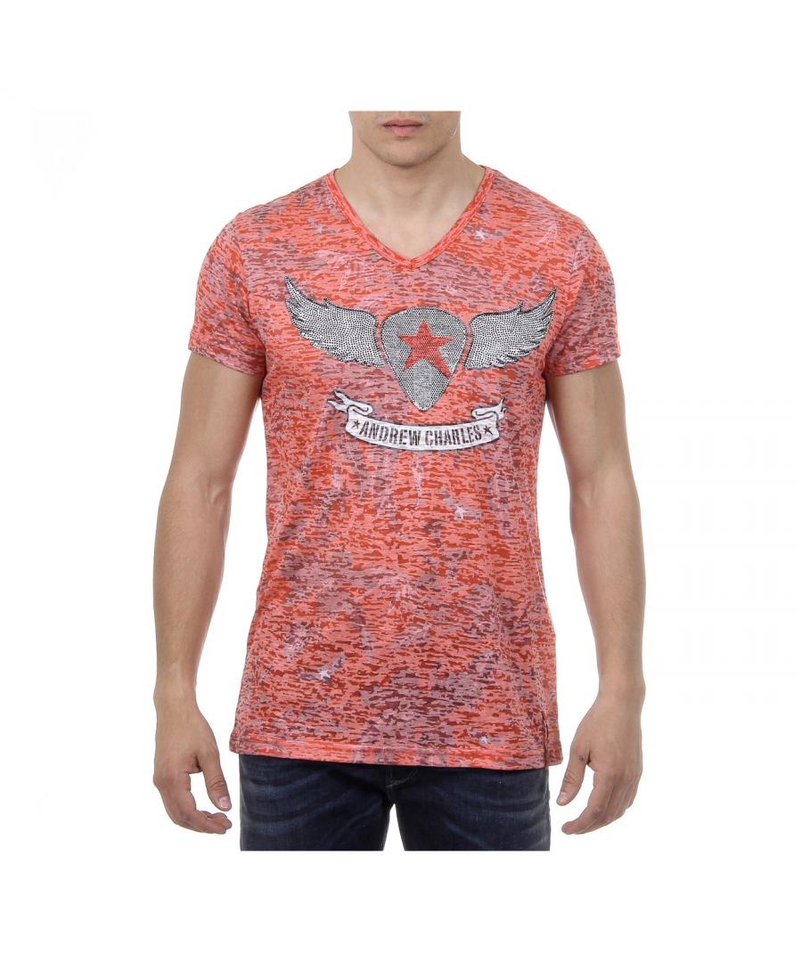 Image for Andrew Charles Mens T-Shirt Short Sleeves V-Neck Red ISAAC