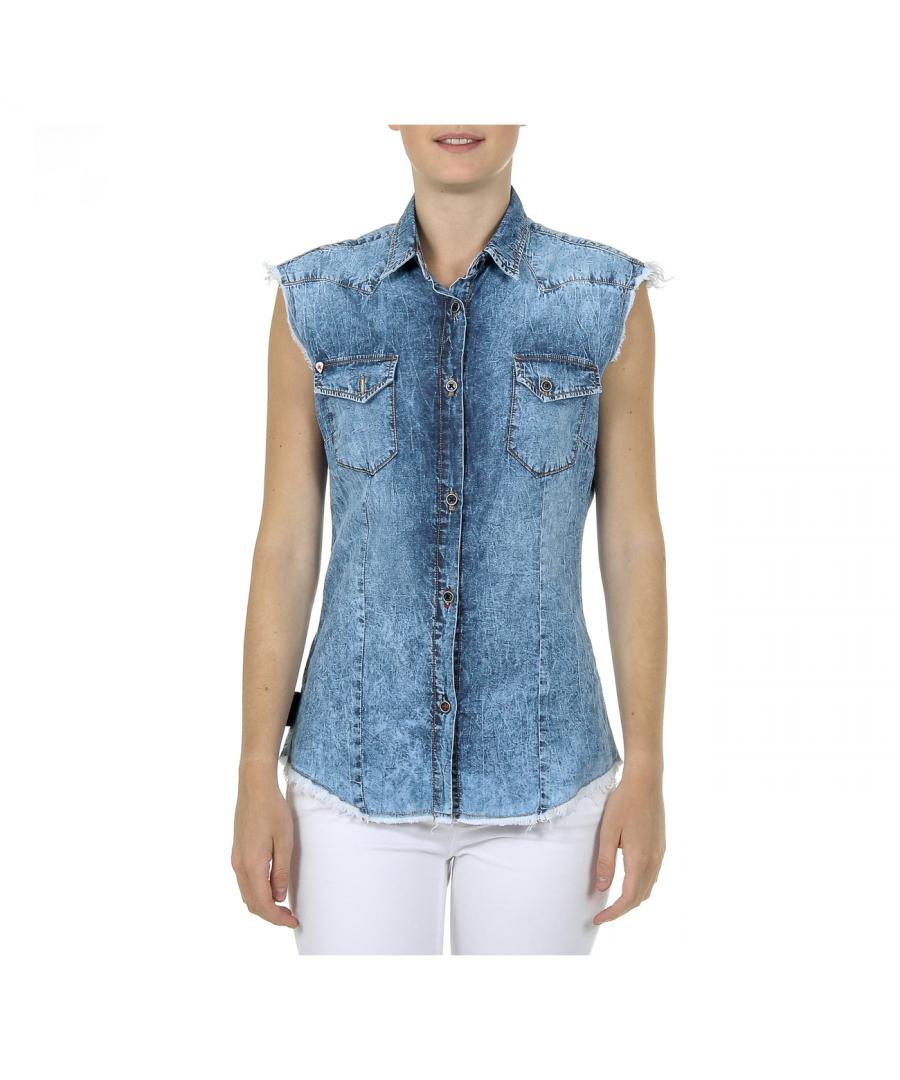 Image for Andrew Charles Womens Shirt Sleeveless Denim CAMILIA