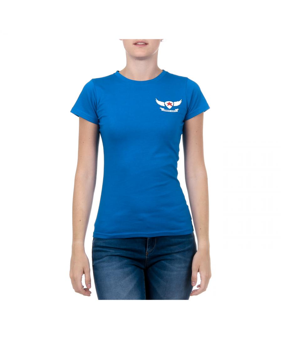Image for Andrew Charles Womens T-Shirt Short Sleeves Round Neck Blue TARANA