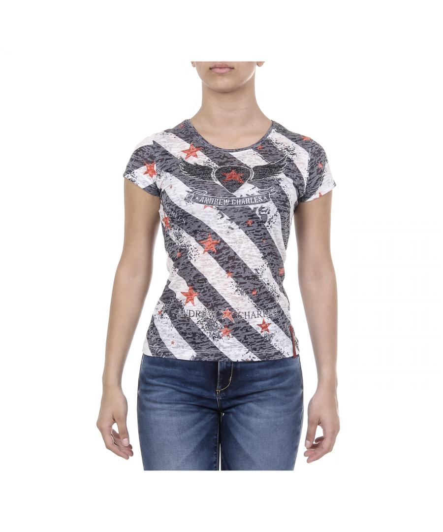 Image for Andrew Charles Womens T-shirt Short Sleeves Round Neck Dark Blue CAROLINE