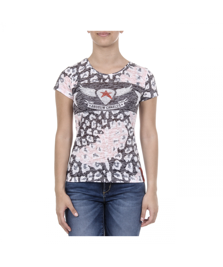 Image for Andrew Charles Womens T-shirt Short Sleeves Round Neck Pink MAYA