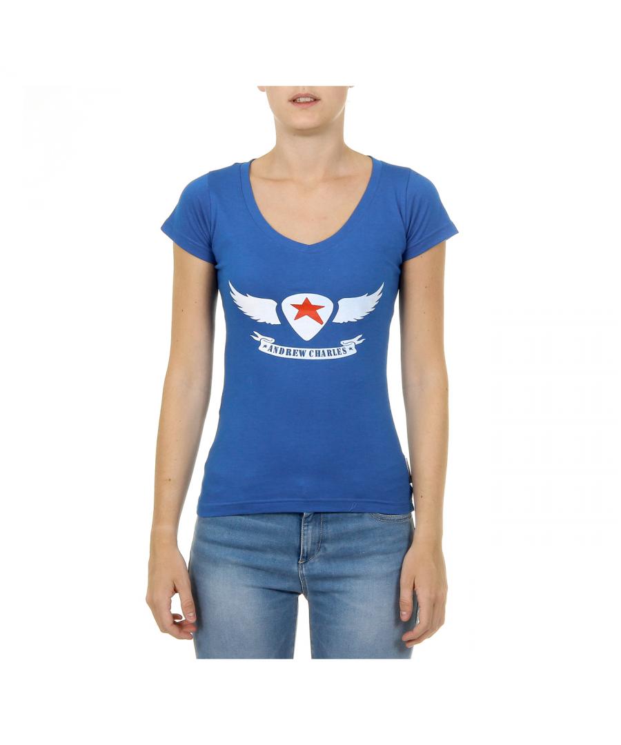 Image for Andrew Charles Womens T-Shirt Short Sleeves V-Neck Blue TAPIWA