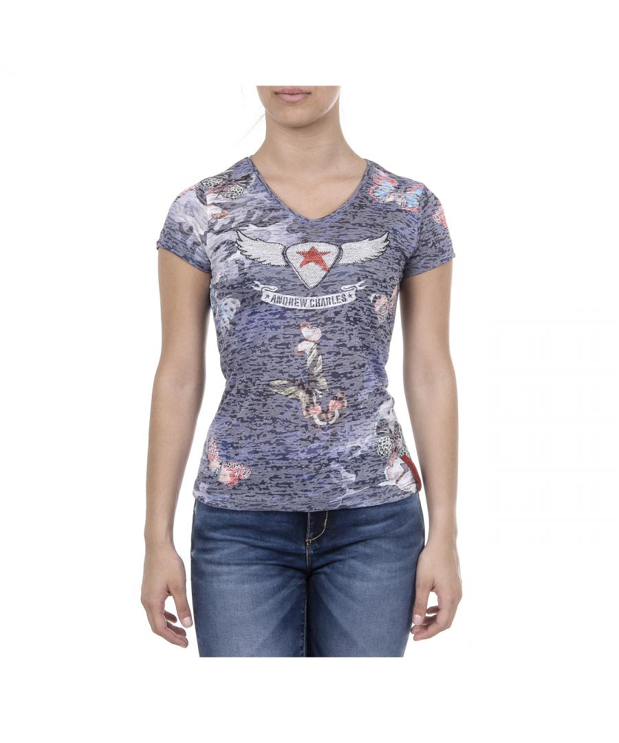 Image for Andrew Charles Womens T-shirt Short Sleeves V-Neck Dark Blue STELLA