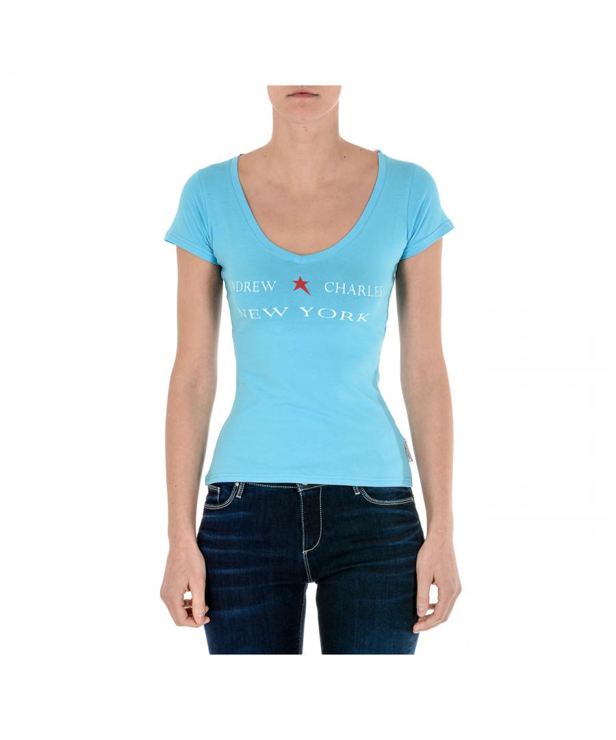 Image for Andrew Charles Womens T-Shirt Short Sleeves V-Neck Light Blue TAPIWA