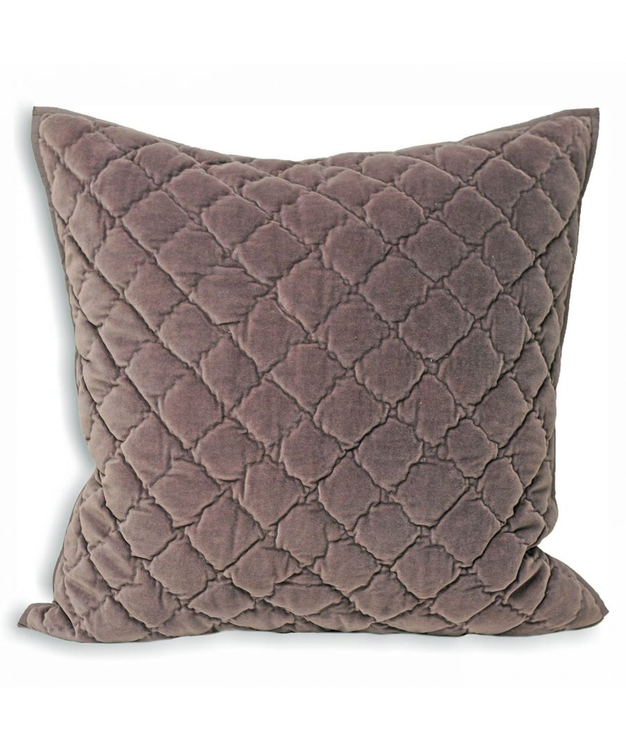 Image for Riva Paoletti Large Square Annecy Cushion Cover - Violet Purple - Geometric Diamond Quilting - Piped Edges - Machine Washable - 100% Cotton - 55 x 55cm (22