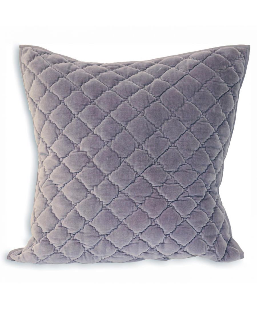 Image for Riva Paoletti Large Square Annecy Cushion Cover - Plum Purple - Geometric Diamond Quilting - Piped Edges - Machine Washable - 100% Cotton - 55 x 55cm (22
