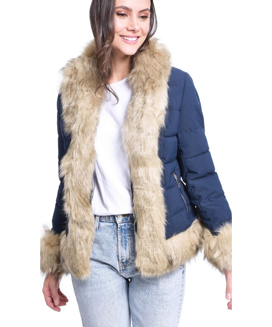 Image for Assuili Down Jacket with Faux FurTrim in Navy