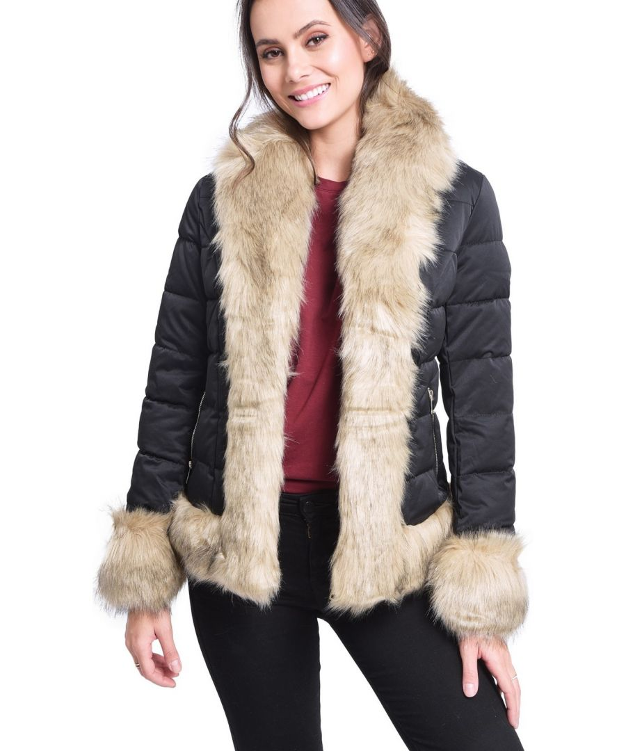 Image for Assuili Down Jacket with Faux FurTrim in Black
