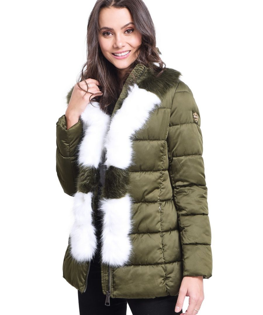 Image for Assuili Mid-Length Puffer Jacket with Faux Fur Panel in Khaki
