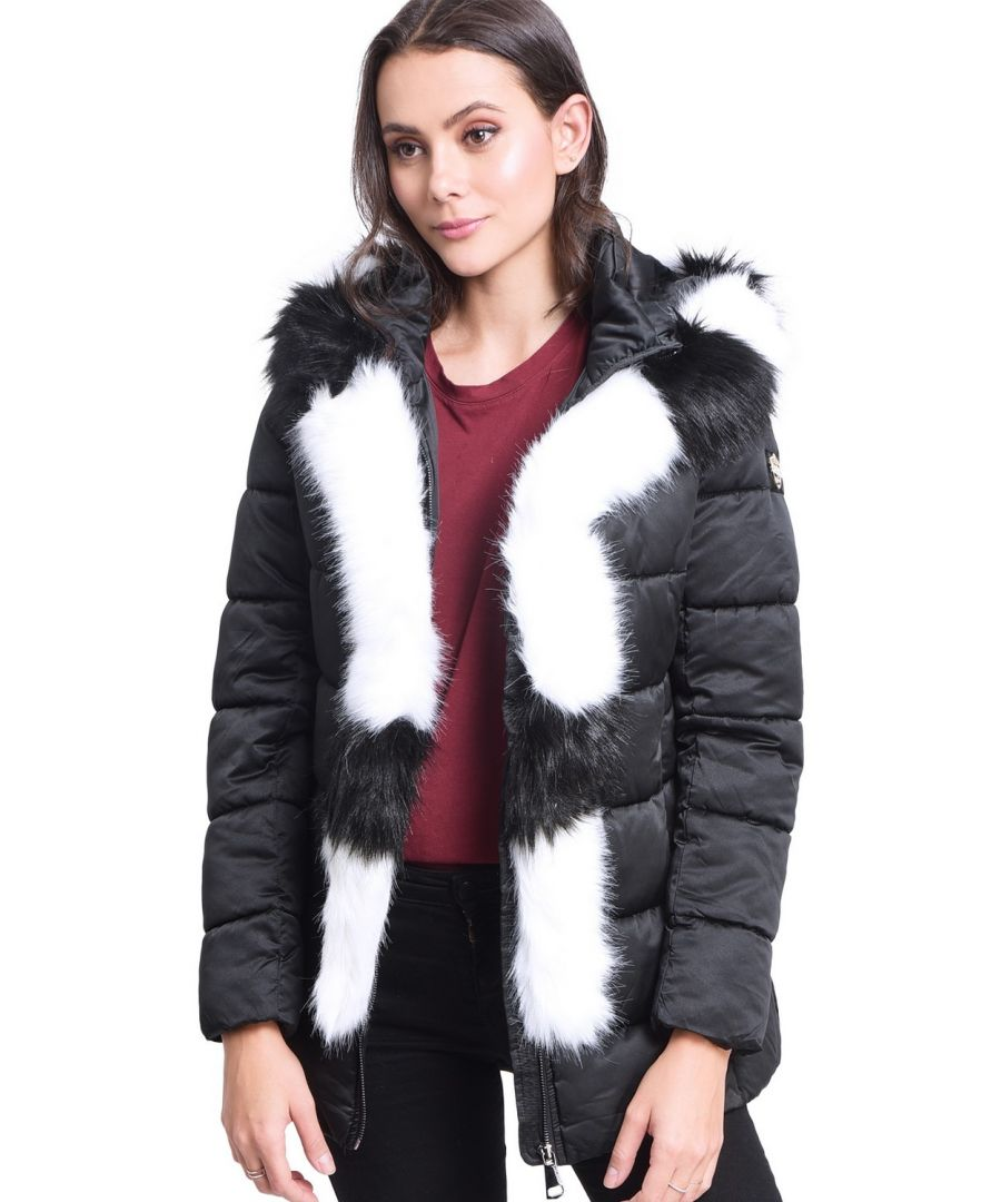 Image for Assuili Mid-Length Puffer Jacket with Faux Fur Panel in Black