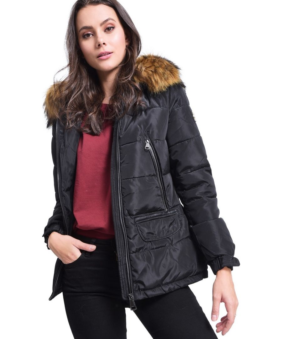 Image for Assuili Down Jacket with Faux Fur Panel and Zipped Pockets in Black