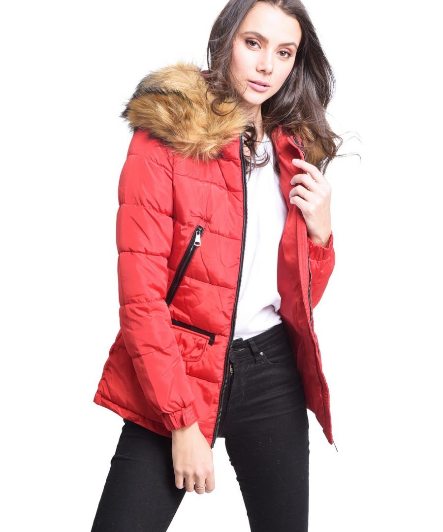 Image for Assuili Down Jacket with Faux Fur Panel and Zipped Pockets in Red