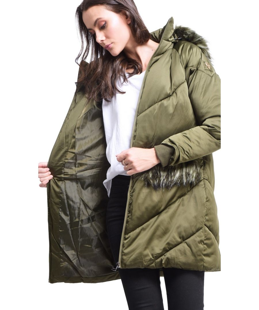 Image for Assuili Long Puffer Jacket with Faux Fur Panel in Khaki