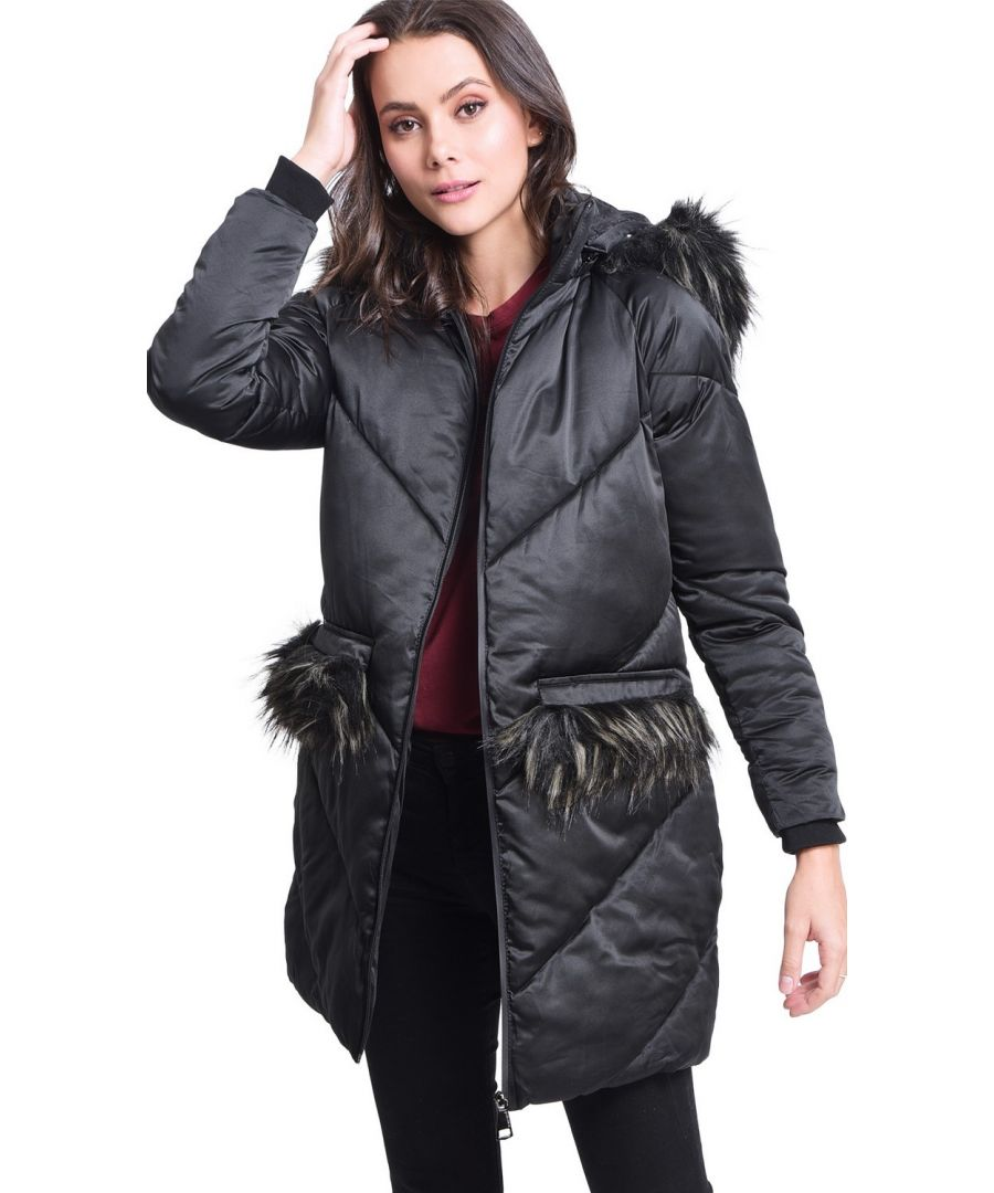 Image for Assuili Long Puffer Jacket with Faux Fur Panel in Black
