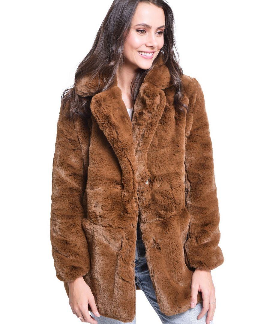 Image for Assuili Faux Fur Coat in Brown