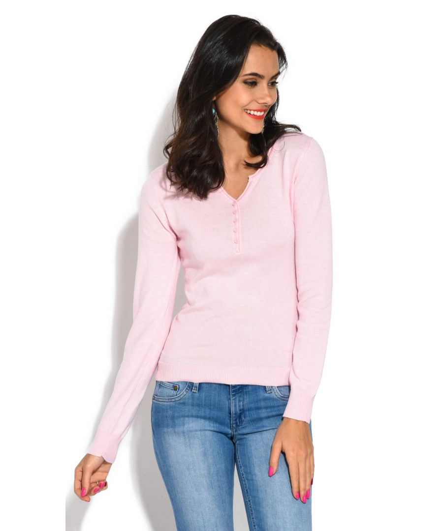 Image for Assuili Tunisian Neck Sweater with Rolled Buttons in Pink
