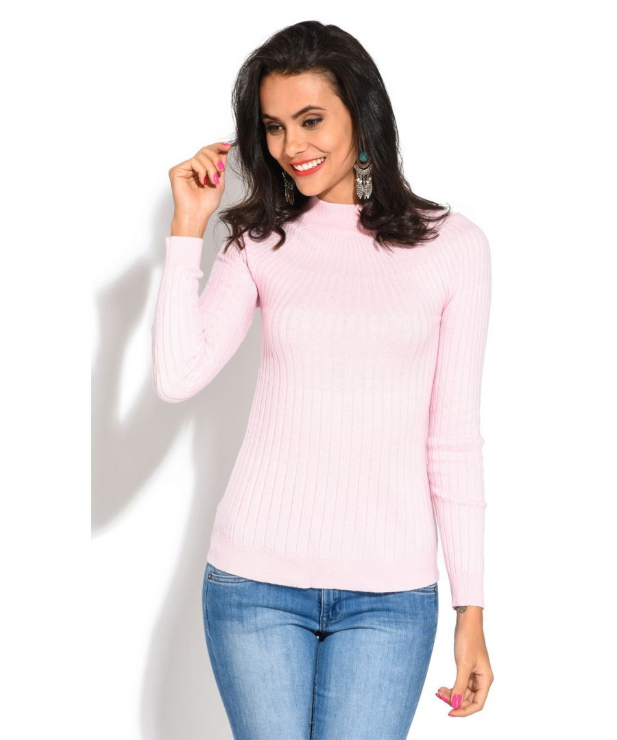 Image for Assuili Funnel Neck Ribbed Sweater in Pink