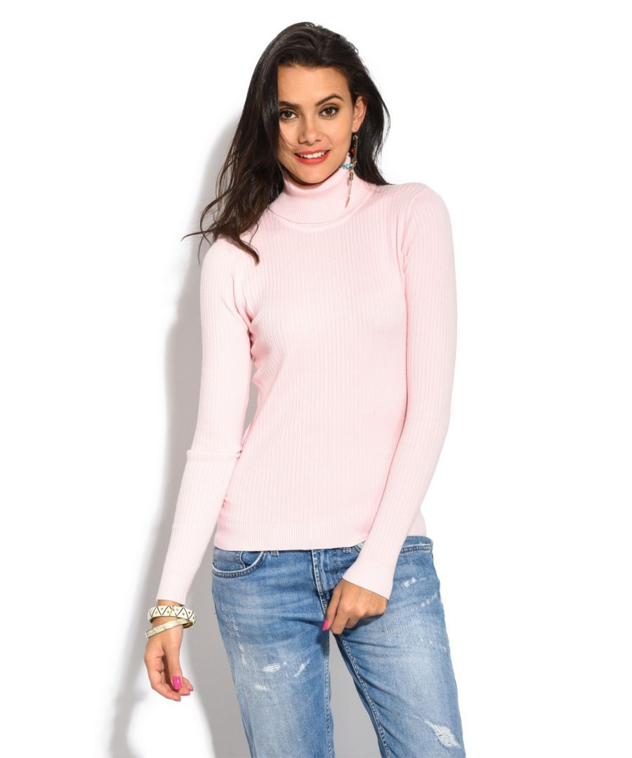 Image for Assuili Roll Neck Long Sleeve Ribbed Sweater in Pink