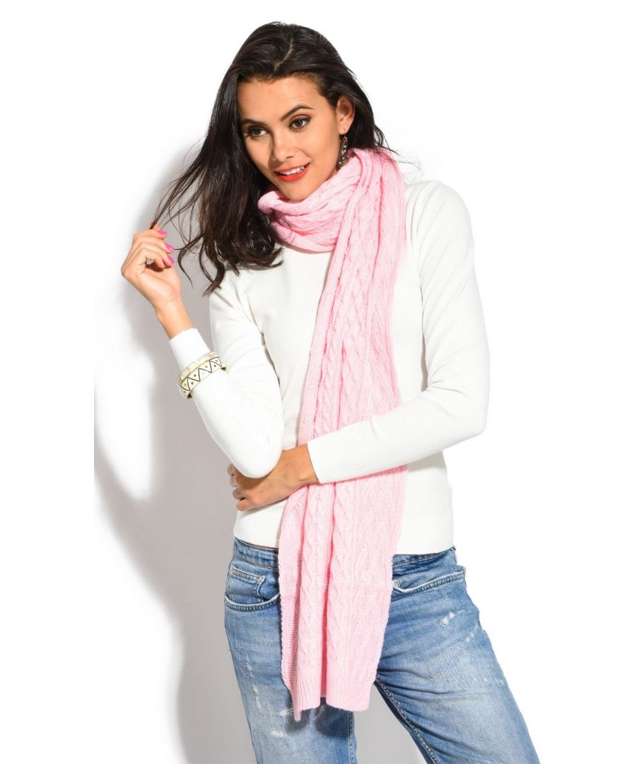 Image for Assuili Twisted 4 Yarn 200x30cm Scarf in Pink