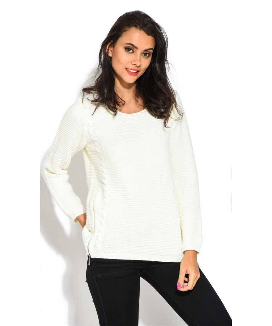 Image for Assuili Round Neck Long Sleeve Ribbed Sweater in Natural