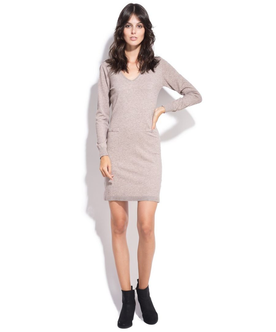 Image for Assuili V-neck Dress with Shoulder Buttons in Beige